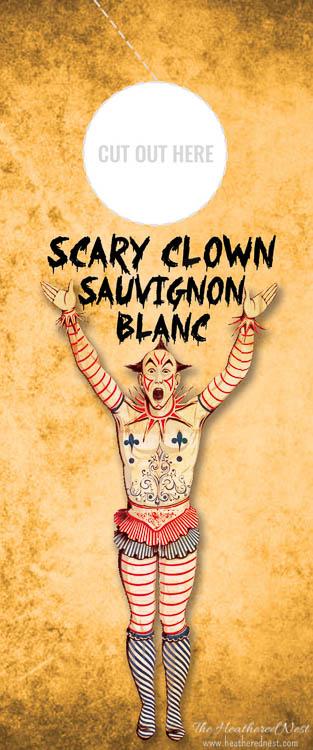 Scary Clown Sauvignon Blanc Free Printable Wine Gift Tag