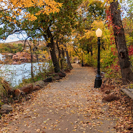 Medicine Park Walking Path by Kathy Suttles - City,  Street & Park  City Parks ( quaint, southwest oklahoma, take a seat, enjoy the fall-view, fall path, medicine park, relaxing, unique bench, scenic, oklahoma, suttleimpressions,  )