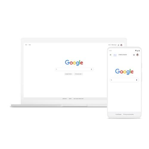 Een laptop en een telefoon met Google Zoeken