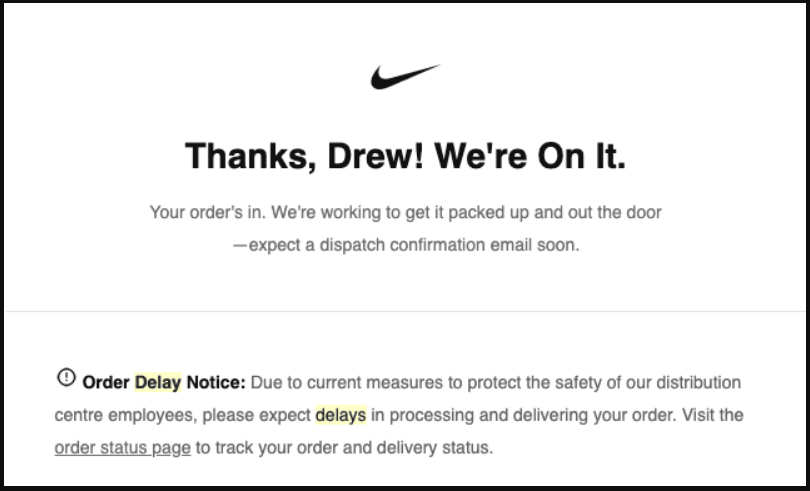 shipping delay email template 3