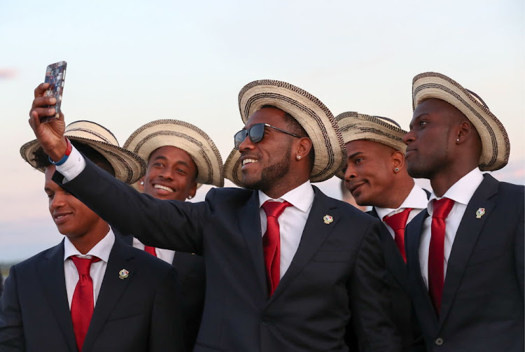 Members of the Panama national soccer team take a selfie as they arrive at Saransk Airport in Russia ahead of the 2018 FIFA World Cup.