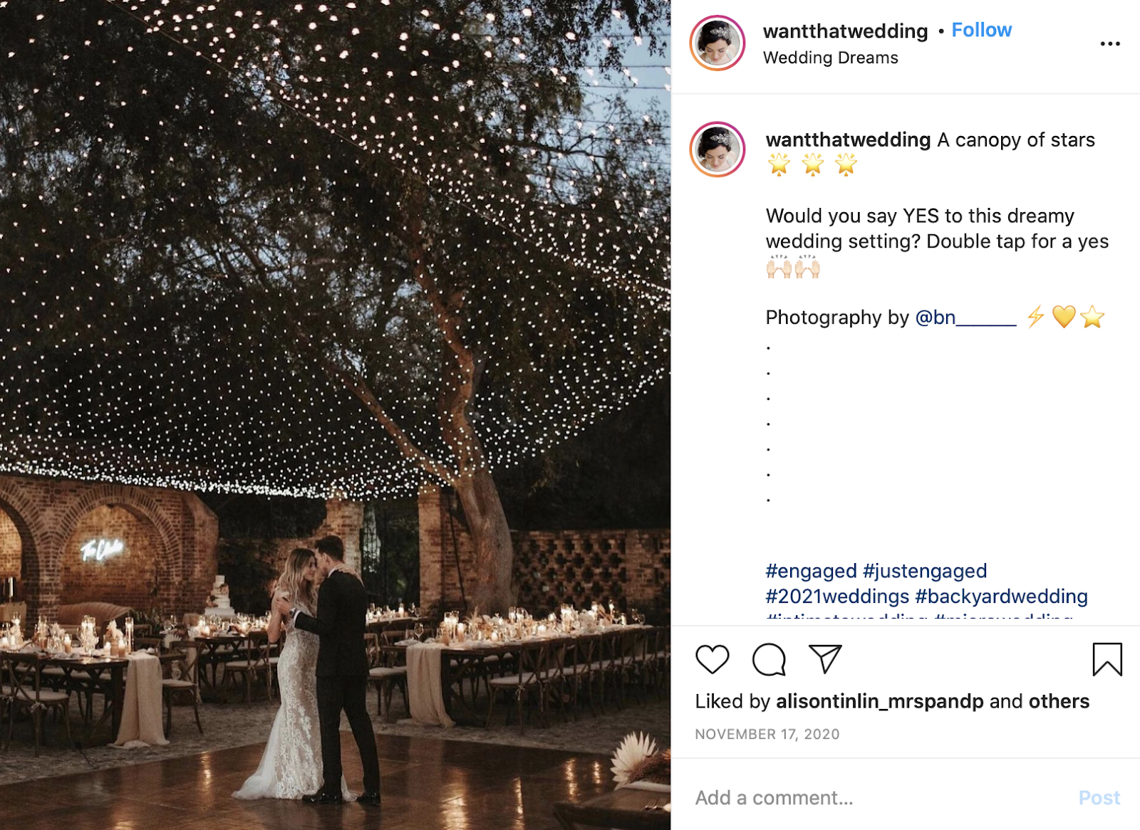 string lights used as decoration at a wedding