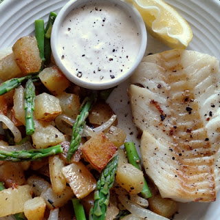 Pan-fried Cod with Asparagus Hash and Horseradish Sauce