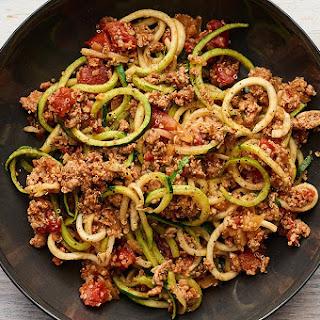 Zucchini Noodles With Turkey, Quinoa, and Tomato Sauce.