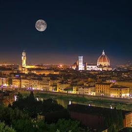 Florence at night  by Łukasz Rogalski - City,  Street & Park  Night ( florence, night, cityscape, italy, city )