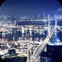 Cities at night. Hong-Kong icon