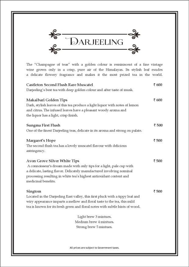 Sea Lounge - The Taj Mahal Palace menu 8