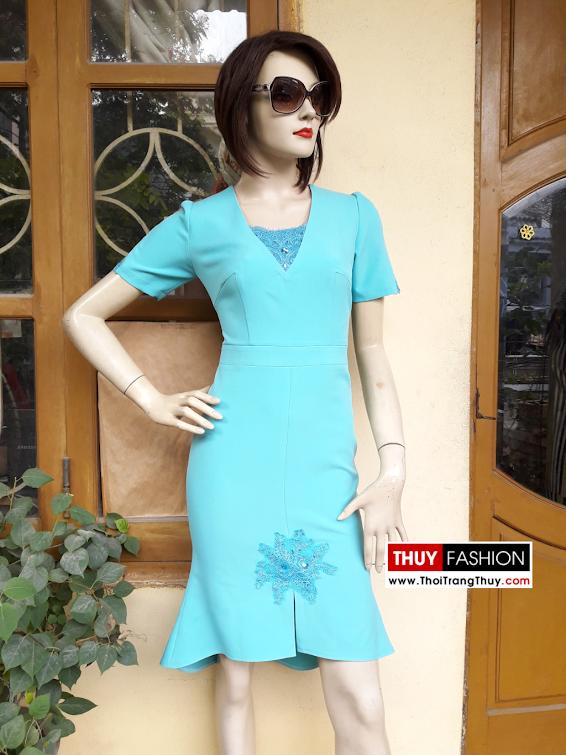 Váy dự tiệc phối ren màu xanh bạc hà V321 thời trang thủy - 1