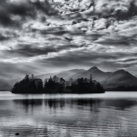 Derwentwater by Bob Brown - Black & White Landscapes ( lake district, keswick, derwentwater, moody, lakes, cat bells )