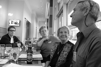 Photo: Chris Dorsi holds court for me, Cala Maxwell and Lydia Gill Polley