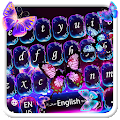 Neon Colorful Butterfly Keyboard Theme