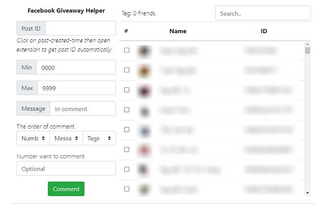 Facebook Giveaway Helper