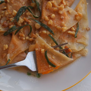 Pumpkin Ravioli with Sage and Walnuts