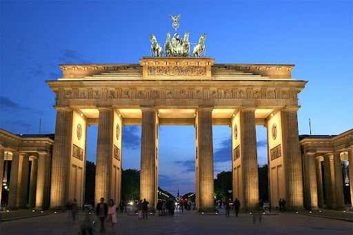 berlin.jpg - The Brandenburg Gate in the Moabit section of Berlin is a former city gate, rebuilt in the late 1700s as a neoclassical triumphal arch.