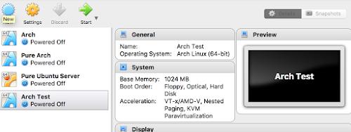 Arch VM VirtualBox