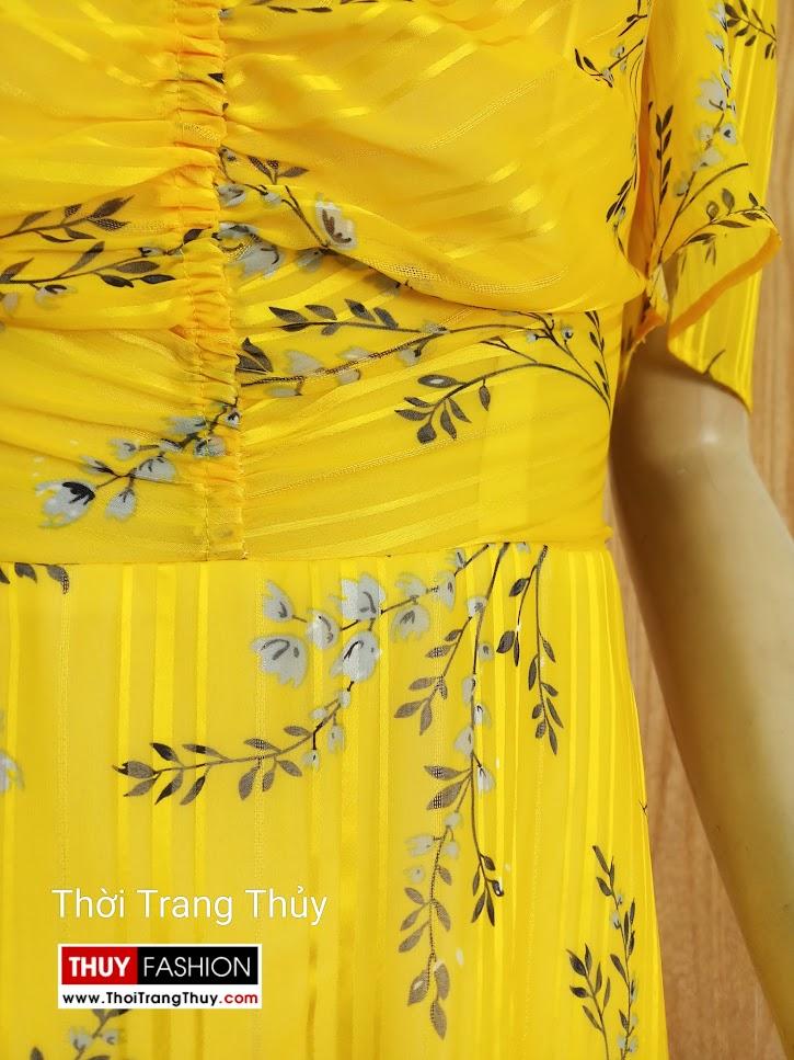Váy xòe tay loe xếp nhún màu vàng V679 thời trang thủy thanh hóa