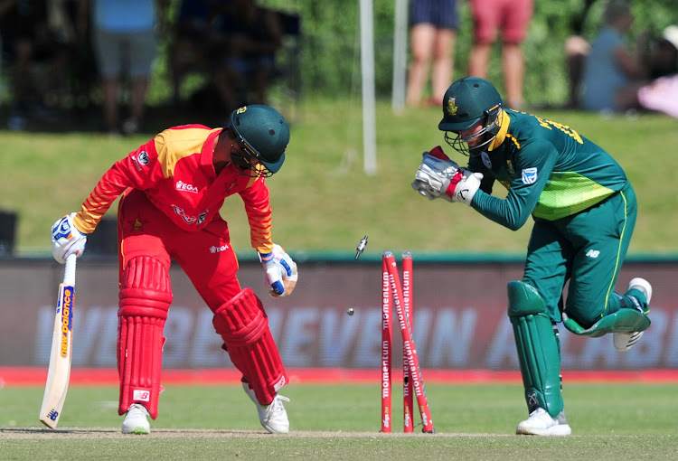 SA wicketkeeper/batsman Heinrich Klaasen shows his quick hands behind the stumps as he attempts a stumping of Sean Williams of Zimbabwe during the Momentum ODI Series game between the Proteas and Zimbabwe at Boland Park in Paarl on October 6, 2018.