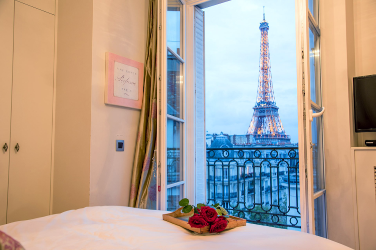 Bedroom at Eiffel Tower apartment