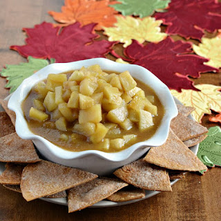 Slow Cooker Caramel Apple Pie Dip Recipe with Cinnamon Tortilla Chips