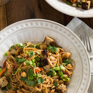 Chinese Spicy Sesame Noodles With Grilled Tempeh and Edamame