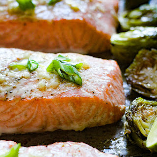 One Pan Buttery Garlic Salmon With Brussels Sprouts.
