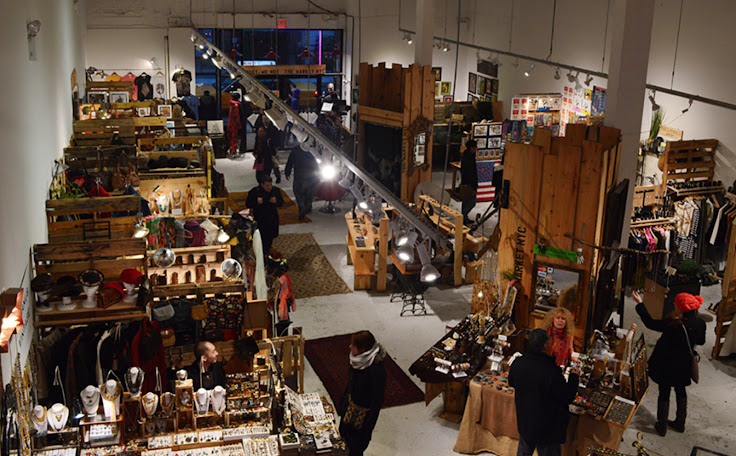 Crafts, gifts and jewelry stands in The Market NYC. Photo: Urban Frou Frou.