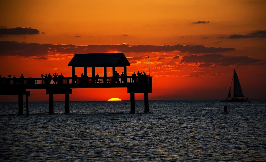 Snowbirds and a Sunset by Wendy  Walters - Buildings & Architecture Other Exteriors ( florida sunset, pier 60, clearwater sunset, clearwater florida pier 60, sailboat, clearwater florida,  )