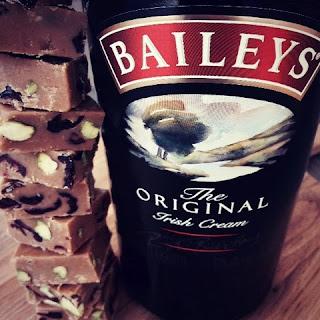 Baileys, Pistachio and Cranberry Fudge.