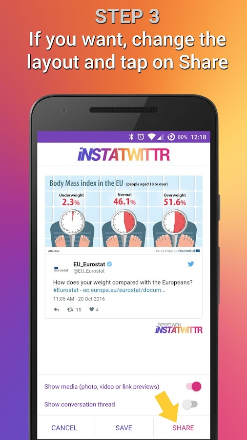 InstaTwittr- screenshot
