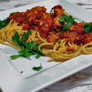 Maine Lobster Tail Spaghetti in Fresh Tomato Sauce.