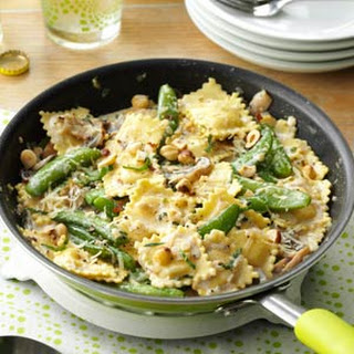 Ravioli with Snap Peas & Mushrooms