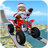 Crazy Santa Impossible ATV Bike Stunts