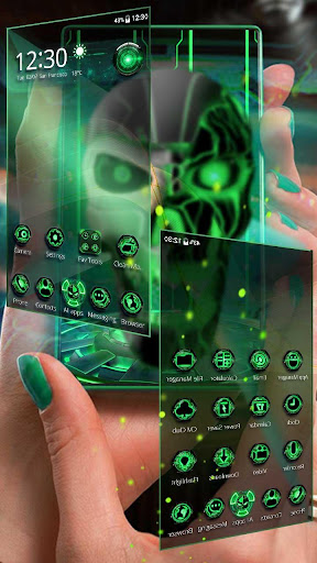Neon Green tech Skull 3D Theme by stylish android themes (Google
