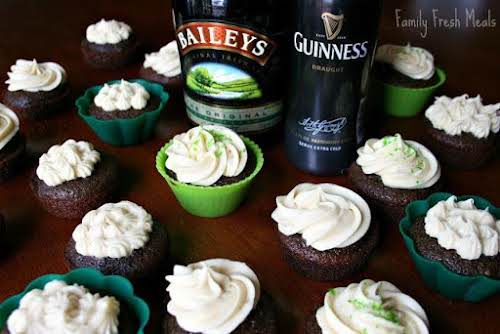 "Guinness Chocolate Cupcakes with Bailey's Cream Cheese Frosting""Good does not even come..."