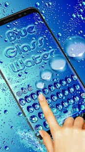 Blue glass Waterdrop Keyboard Theme - náhled