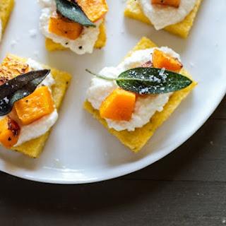 Polenta Crostini with Butternut Squash, Ricotta + Sage
