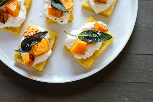 Polenta Crostini with Butternut Squash, Ricotta + Sage Recipe | Yummly