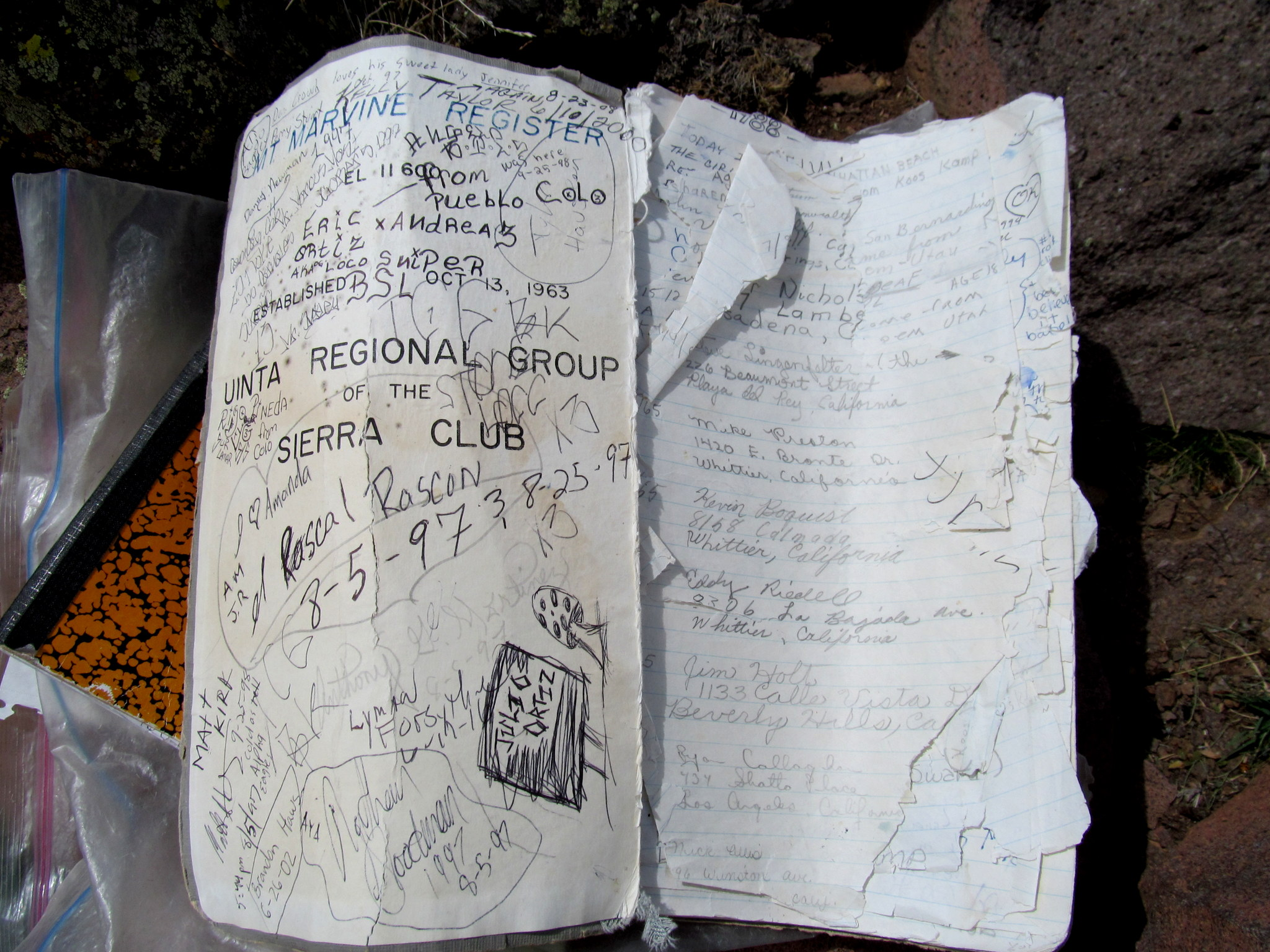 Photo: Sierra Club summit register from 1963