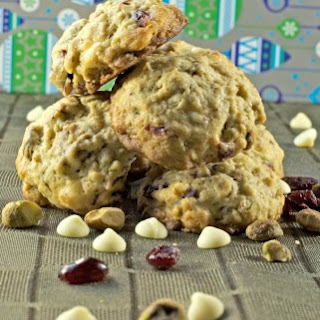Oatmeal Cranberry Cookies with White Chocolate & Pistachios.
