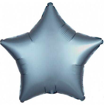 Folieballong Satinstjärna stålblå, 48 cm