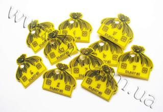 """Photo: Номерки для ключей фигурные. Заказчик: Комплекс отдыха """"Водограй"""". Желтый акрил, прорезка лазером, заливка черной краской"""