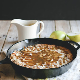 Pear Skillet Cake with Brandy Caramel Sauce.