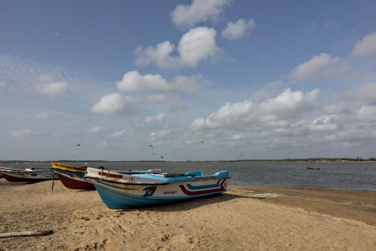 Sri. Lanka Kalpitiya Kiteboarding. Kalpitiya Lagoon Fishermen Rescue Boats.