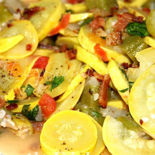 Summer Veggie Skillet - Squash and Okra with Onion and Tomato