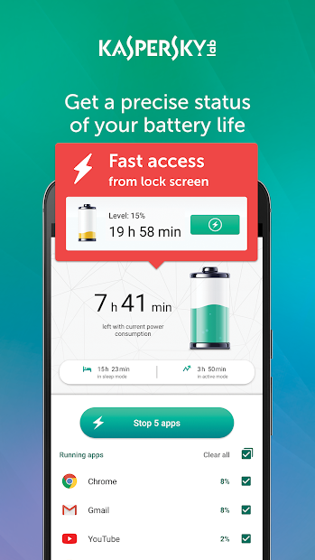 Kaspersky Battery Life: Saver & Booster Android App Screenshot