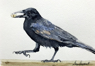 Photo: Steppin' Out Crow. watercolor. 5x7