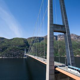 Hardangerbrua by Espen Rune Grimseid - Buildings & Architecture Bridges & Suspended Structures ( fjord, mountains, hardanger, norway, hardangerbrua, construction, bridge, landscape, architecture )