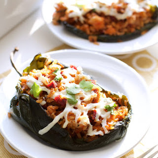 Chorizo Shrimp Poblano Stuffed Peppers