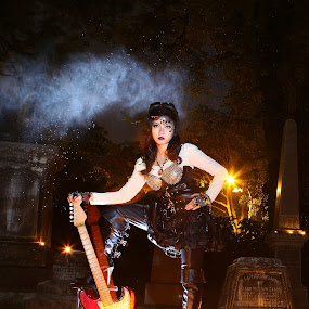 steampunk on molten wool by Rossi Abun - People Portraits of Women ( rock chick, moltenwool, steampunk, electric guitar )