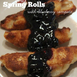 Cheesecake Spring Rolls with Blueberry Compote